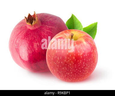 Isolated fruits. One whole pomegranate and red apple with leaves isolated on white background with clipping path - Stock Image