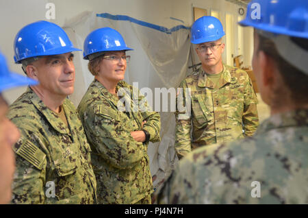 JACKSONVILLE, Fla. (Aug. 30, 2018) – Capt. Matthew Case, commanding officer, Naval Hospital Jacksonville (left); Rear Adm. Anne Swap, commander, Navy Medicine East; and Maj. Gen. Ronald Place, director, National Capital Region Medical Directorate, Defense Health Agency, tour a unit under construction at NH Jacksonville.  Before the tour, the flag officers met with the hospital's senior leaders to discuss strategic opportunities in military health care.  (U.S. Navy photo by Jacob Sippel, Naval Hospital Jacksonville/Released). - Stock Image