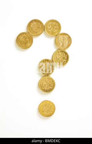 Question Mark in Pound Coins - Stock Image