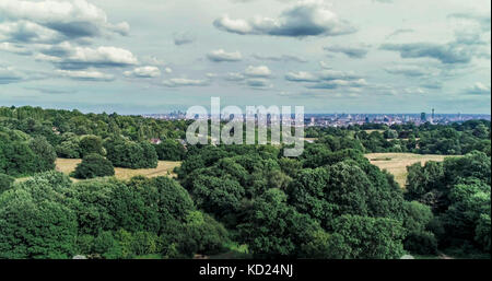 Aerial view over a park revealing the skyline of central London - Stock Image