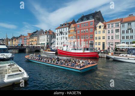 Nyhavn Channel, excursion boat, Copenhagen, Capital Region of Denmark, Denmark - Stock Image