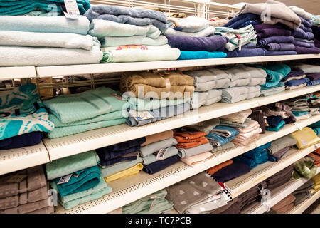 Miami Florida Ross Dress for Less Discount Department Store inside display sale shelves bath towels shopping - Stock Image