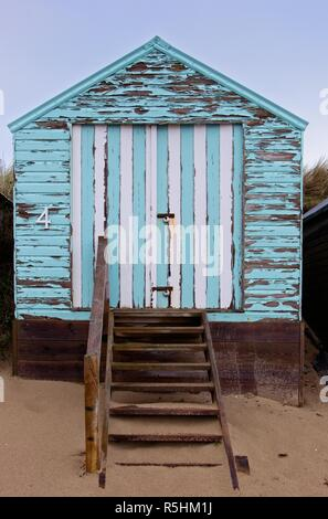 Beach hut at Abersoch, Gwynedd, Wales - Stock Image