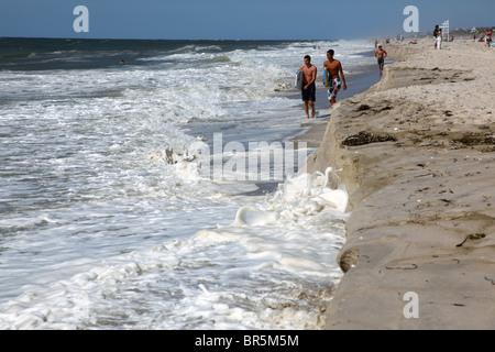 Beach erosion at Fair Harbor, Fire Island National Seashore, NY, USA - Stock Image