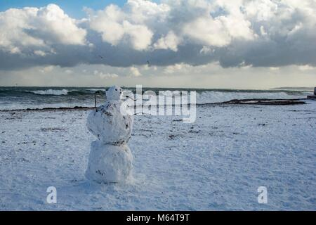 Rare snow meets the sea in Falmouth, Cornwall. - Stock Image