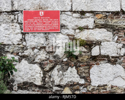 King's Bastion commemorative plaque - Stock Image