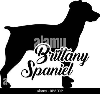 Brittany Spaniel silhouette real with word - Stock Image