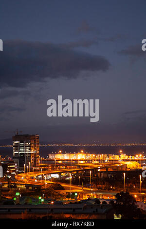 Cape Town City Harbour Lights at Night - South Africa - Stock Image