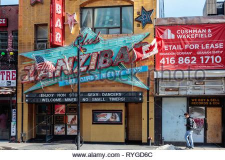 Zanzibar tavern strip club on Yonge Street in the downtown entertainment district of Toronto Ontario Canada. - Stock Image