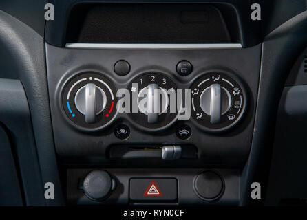 2014 Suzuki Alto compact city car. Heater and ventilation controls - Stock Image