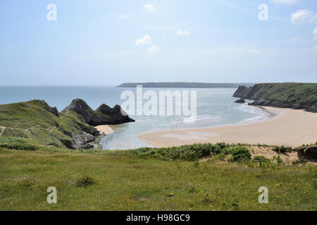 Three Cliffs Bay and beach on Gower Peninsular in Wales, part of the Gower coastal footpath. - Stock Image