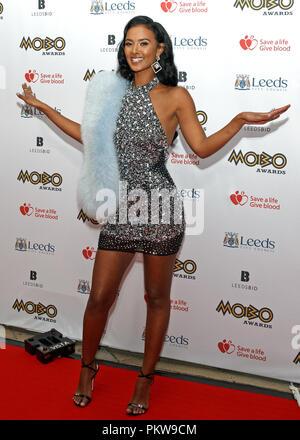 Maya Jama, British television and radio presenter, on the red carpet at the MOBO Awards. - Stock Image