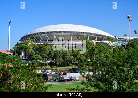 View of Adelaide Oval cricket and sports ground, seen from Adelaide Festival Centre, Adelaide, South Australia. - Stock Image
