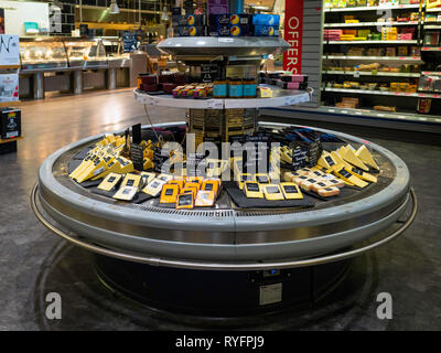 Display of the self-service Cheese Counter in Booths Supermarket Ripon North Yorkshire England UK - Stock Image