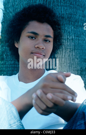 Portrait African American teenage male - Stock Image
