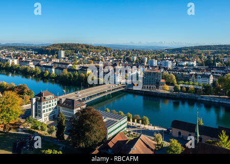View from the tower of St. Ursen cathedral on Solothurn, Switzerland - Stock Image