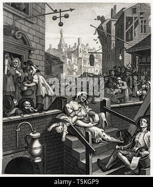 William Hogarth, Gin Lane, engraving, c. 1750 - Stock Image