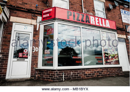 PizzaRella or Pizza Rella an small unusual named takeaway on the High Street using a play on words as its title in Holmewood, Chesterfield England UK - Stock Image