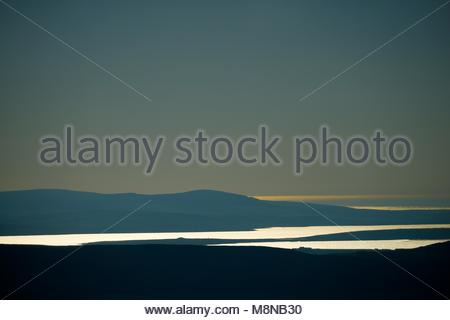 Ness of Brodgar and Ring of Brodgar prehistoric sites on isthmus between Loch of Harray and Loch of Stenness, Orkney. - Stock Image