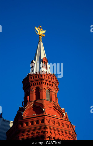Moscow, Russia; Detail of Tower on the History Museum - Stock Image