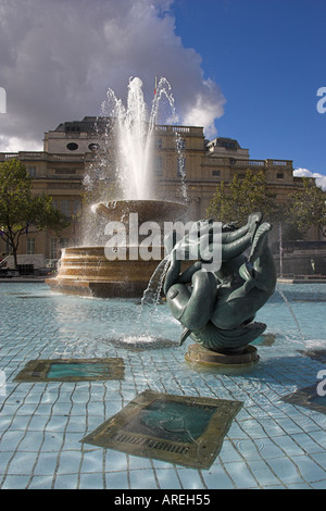 Statue and Fountain, Trafalgar Square, London - Stock Image
