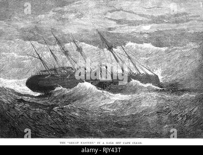 SS GREAT EASTERN  steamship in a stormy sea - Stock Image