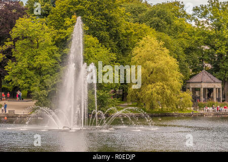 Fountain In The Lake, Stavanger, Norway - Stock Image