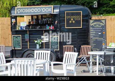 90th Kent County Show, Detling, 6th July 2019. Prosecco Box. A horse box converted into a bar selling Prosecco at an event. - Stock Image