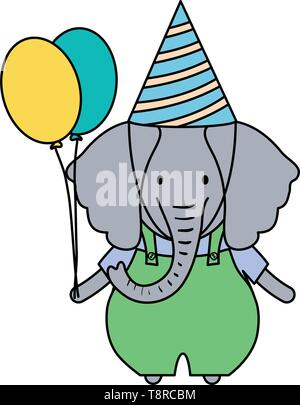 cute elephant with balloons helium in birthday party vector illustration design - Stock Image