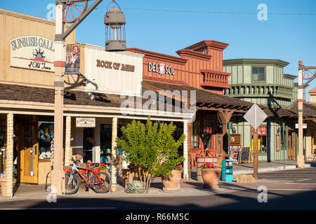 A row of old stores in Old Town Scottsdale, Scottsdale, Phoenix, Arizona, USA - Stock Image