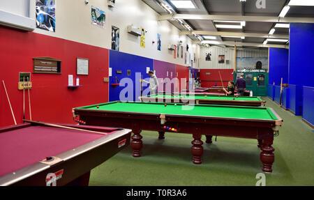 Snooker, billiards and pool games room in Manor House Hotel, Devan, UK - Stock Image