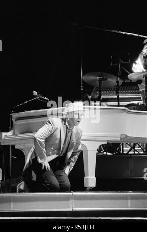 Elton John on his European Express Tour which was the European leg of his 1984 Breaking Hearts Tour. National Exhibition Centre, Birmingham. 23rd June 1984. - Stock Image