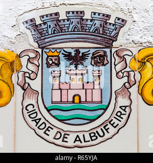 Close-up of the coat of arms of the city of Albufeira in Portugal. - Stock Image