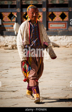 Masked clown at Black-necked Crane Festival held in Gangte Monastery in the Phobjikha Valley of Bhutan - Stock Image
