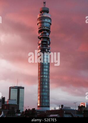 London BT tower at sunset - Stock Image