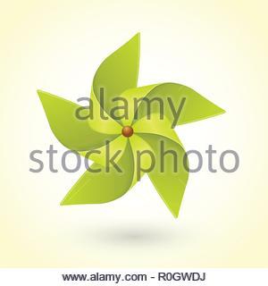 Colorful eco green pinwheel - Stock Image