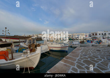 View of the port in Naousa village on Paros island, Greece - Stock Image