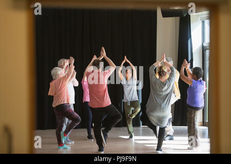 Active seniors exercising in circle, practicing yoga tree pose - Stock Image