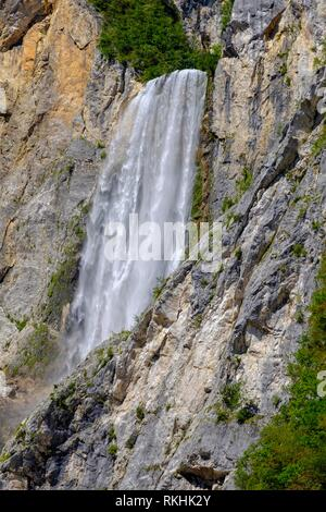 Waterfall Slap Boka, near Bovec, river Soca, Isonzo, Soca valley, Slovenia - Stock Image