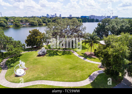 Orlando Florida Lake Formosa downtown city skyline Mennello Museum of American Art sculpture garden aerial overhead bird's eye view above - Stock Image