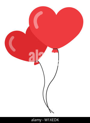 balloons heart red double love helium illustration - Stock Image