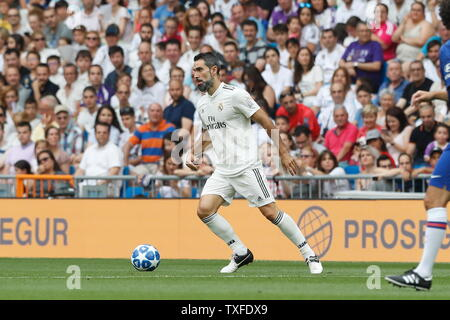 Madrid, Spain. 23rd June, 2019. Fernando Sanz (Real) Football/Soccer : Friendly 'Corazon Classic Match 2019' between Real Madrid Leyendas 5-4 Chelsea Legends at the Santiago Bernabeu Stadium in Madrid, Spain . Credit: Mutsu Kawamori/AFLO/Alamy Live News - Stock Image