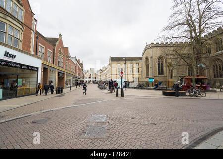Veiw along Sidney street Cambridge - Stock Image