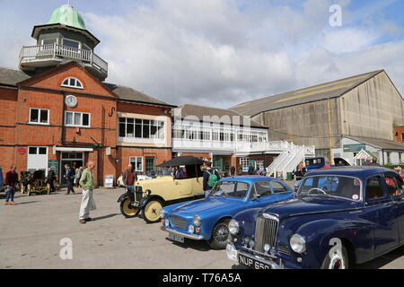 Clubhouse and Paddock, British Marques Day, 28 April 2019, Brooklands Museum, Weybridge, Surrey, England, Great Britain, UK, Europe - Stock Image
