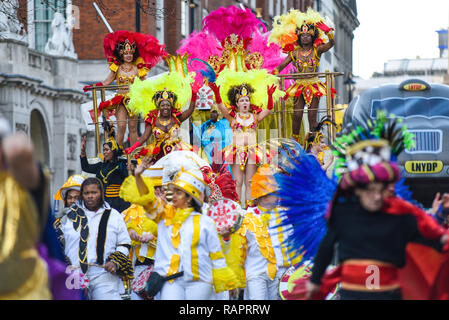 Carnaval del Pueblo at London's New Year's Day Parade, UK. Colourful costumes. Colorful - Stock Image