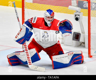 Bratislava, Slovakia. 21st May, 2019. Patrik Bartosak (CZE) in action during the match between Czech Republic and Switzerland within the 2019 IIHF World Championship in Bratislava, Slovakia, on May 21, 2019. Credit: Vit Simanek/CTK Photo/Alamy Live News - Stock Image