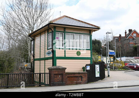 Uckfield East Sussex England UK - The old railway signal box now used as a taxi cab office - Stock Image