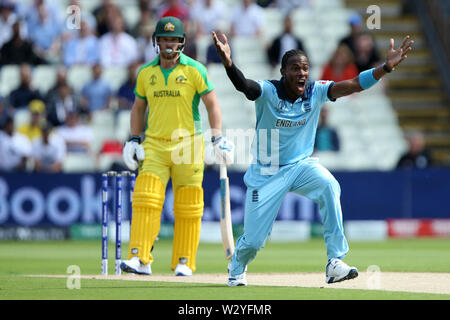 Birmingham, UK. Birmingham, UK. 11th July 2019; Edgbaston, Midlands, England; ICC World Cup Cricket semi-final England versus Australia; Jofra Archer appeals against Aaron Finch for lbw and is given out for a duck Credit: Action Plus Sports Images/Alamy Live News - Stock Image