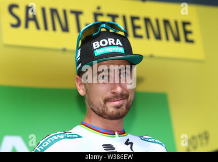 Macon to Saint-Etienne, France. 13th July 2019. Macon to Saint-Etienne, France. 13th July 2019,  Macon to Saint-Etienne, France; Tour de France cycling tour, stage 8; Peter Sagan, (SVK) Bora - Hansgrohe Credit: Action Plus Sports Images/Alamy Live News Credit: Action Plus Sports Images/Alamy Live News - Stock Image