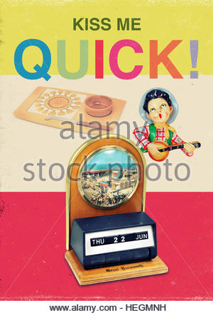 Kiss Me quick vintage retro style kitsch cover artwork - Stock Image